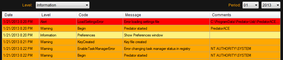 Predator USB Locker Tool Log