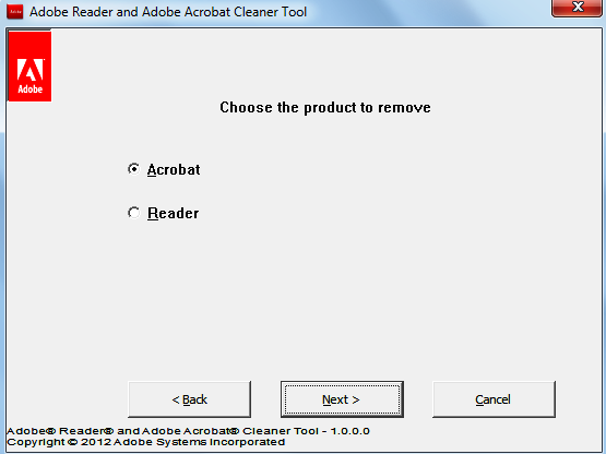 Adobe Reader and Acrobat Cleaner tool