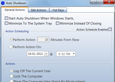 Features of Autoshutdown