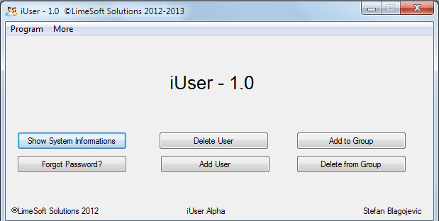 Main interface of iuser Software