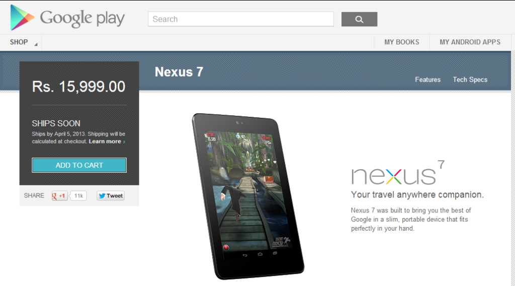Google Nexus 7 Tablet on India Google Play Store