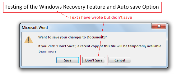 MS Word Recovery Option 1