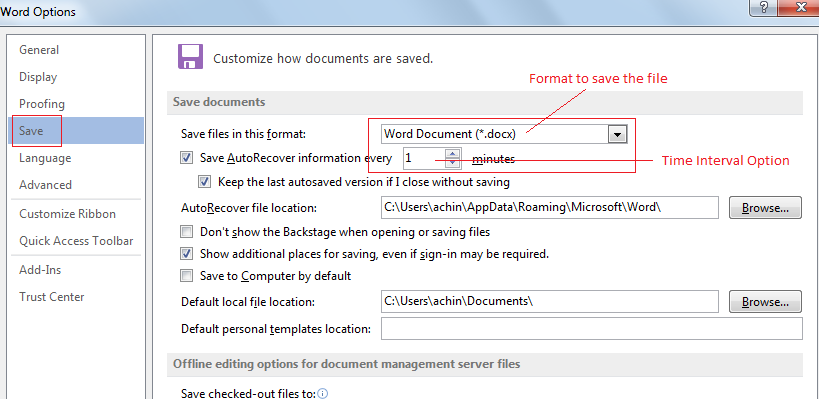 MS Word Recovery Option 2