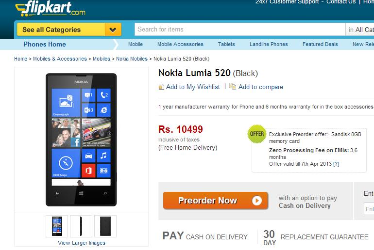 Nokia Lumia 520 Smartphone up for Pre-Order on Flipkart