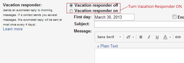 Gmail Auto Reply Vacation responder