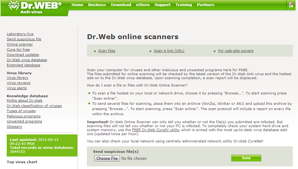 DrWeb Antivirus Online - online website to scan file for virus