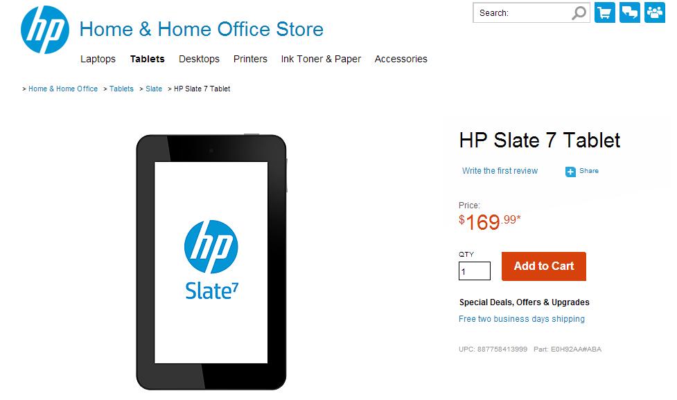 HP Slate 7 Tablet Buy Online