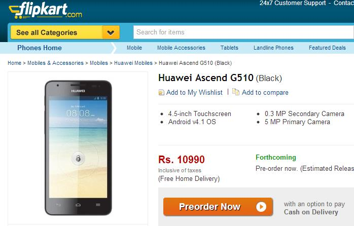 Huawei Ascend G510 Smartphone on Flipkart