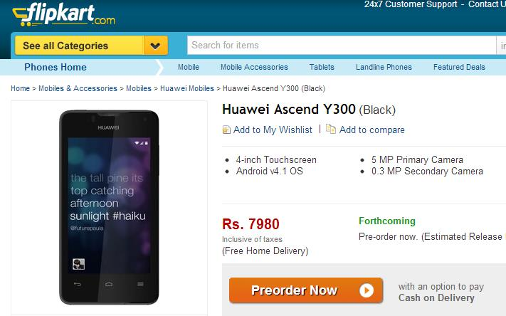 Huawei Ascend Y300 Smartphone on Flipkart