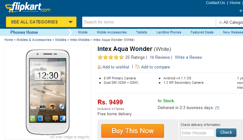 Intex Aqua Wonder Mobile
