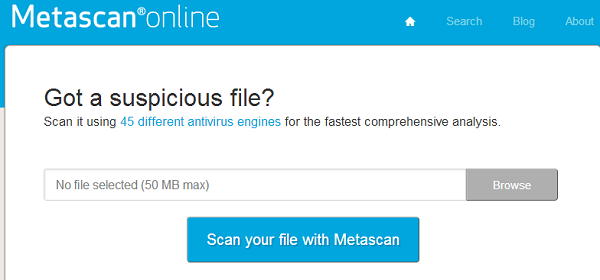 Metascan - online website to scan file for virus