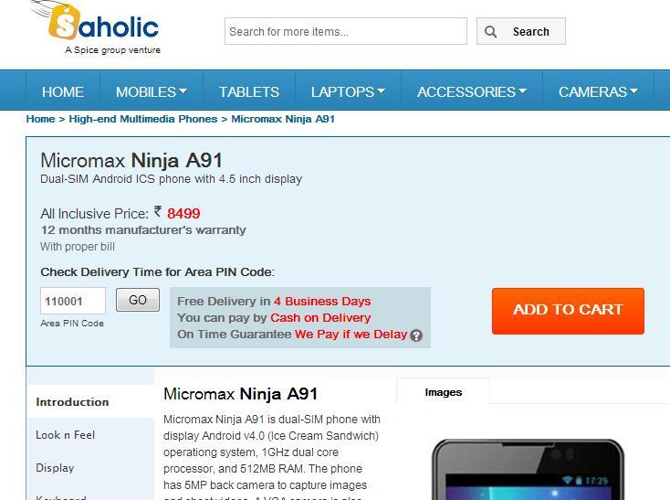 Micromax A91 Ninja Smartphone on Saholic