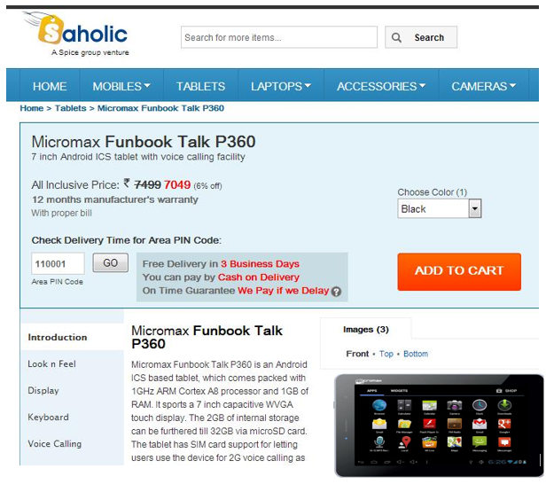 Micromax Funbook Talk P360 Tablet on Saholic