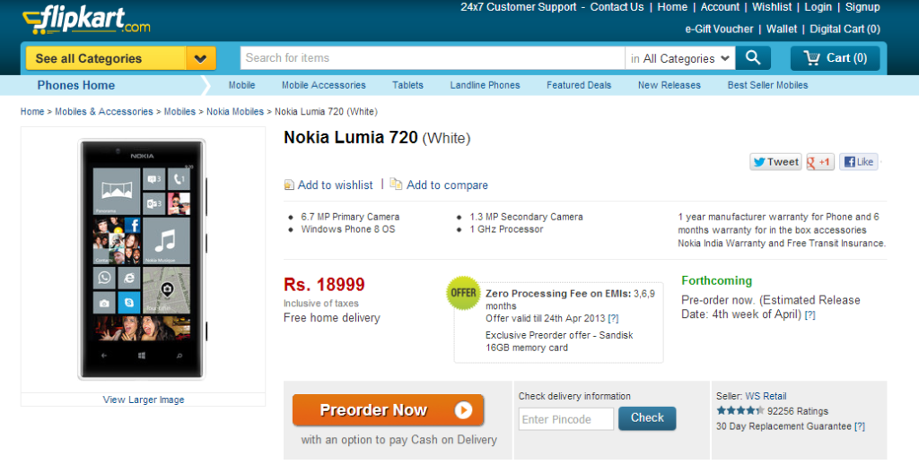 Nokia Lumia 720 Mobile is available from Flipkart