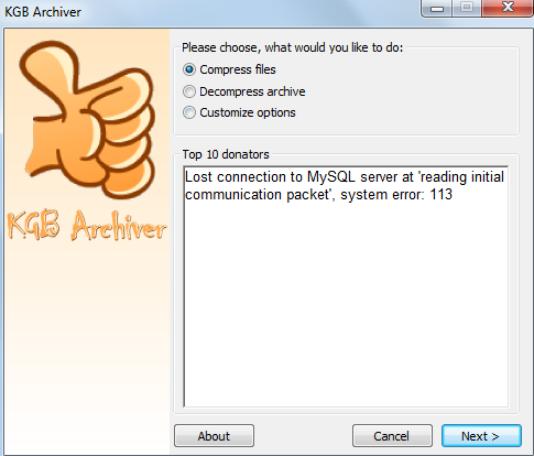 compress a 1GB File into 7MB with KGB ARCHIVER