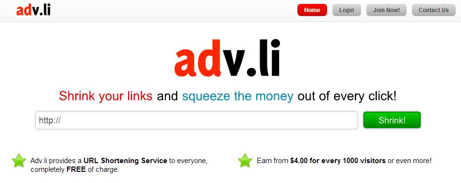 earn money from URL shortener with adv.li