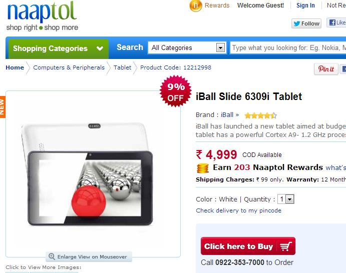 iBall Slide 6309i Tablet Price In India