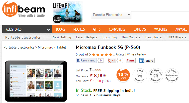 Micromax Funbook 3G P-560 Tablet Buy from infibean