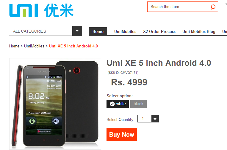 UMI XE Mobile Price in India