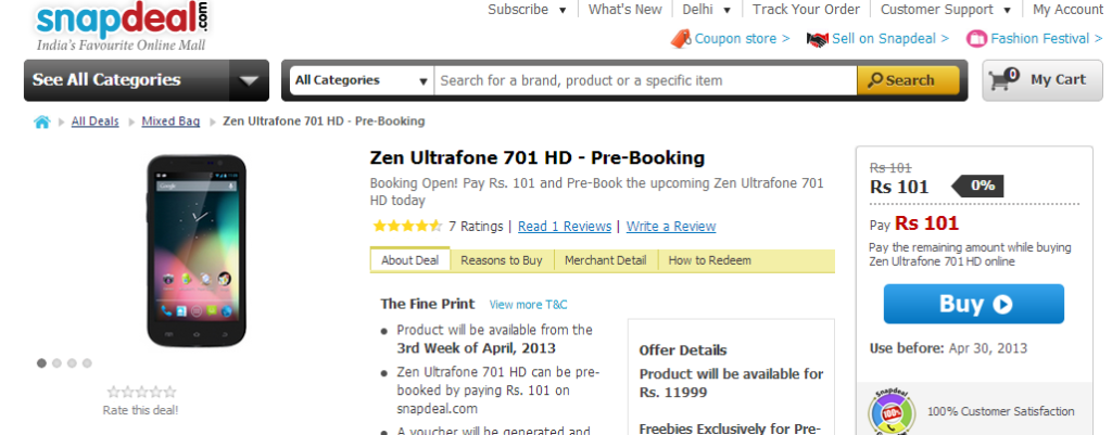 Zen Ultrafone 701 HD Smartphone is available for pre-booking on online retailer Snapdeal