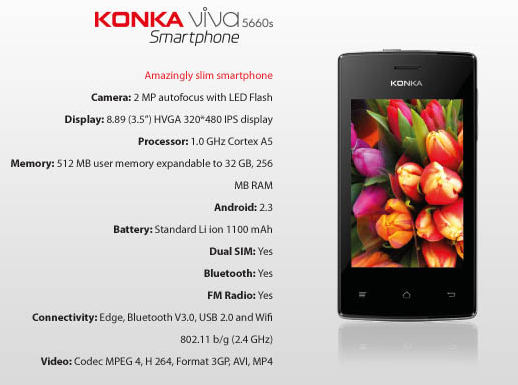 Konka Viva 5660S Smartphone Features and Specifications