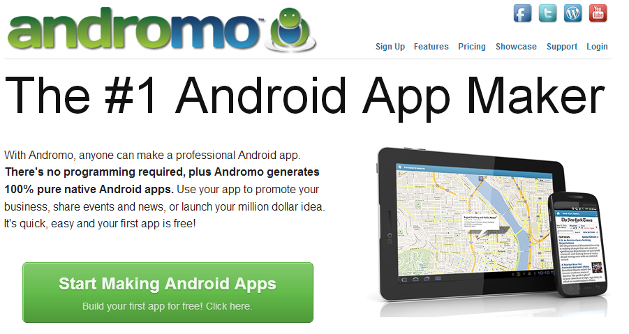 Andromo website to create android app