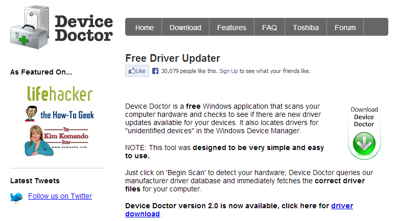 Device Doctor Tool to update Drivers on Windows