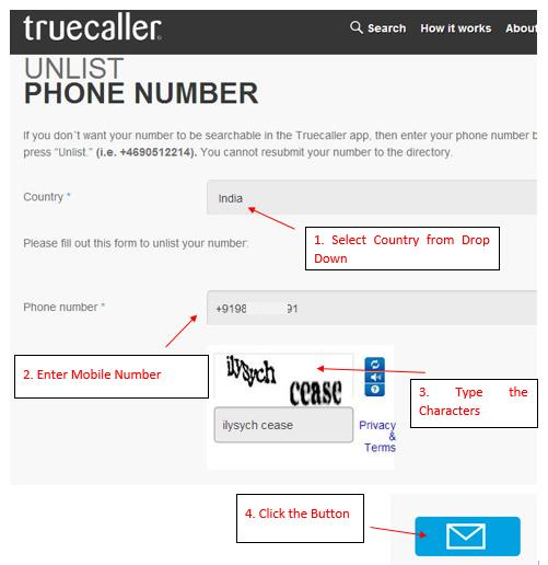 Remove Mobile Phone Number from TrueCaller