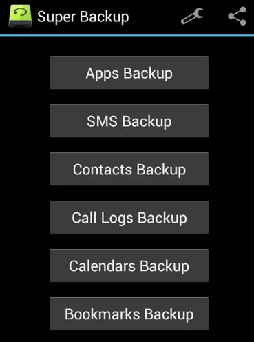 Backup Data in Android - Menu