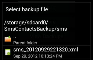 Restore Option in Android Data Backup