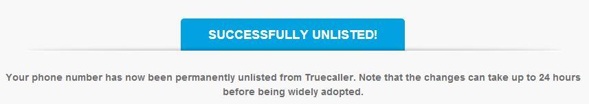 UNLIST Mobile Number from TrueCaller