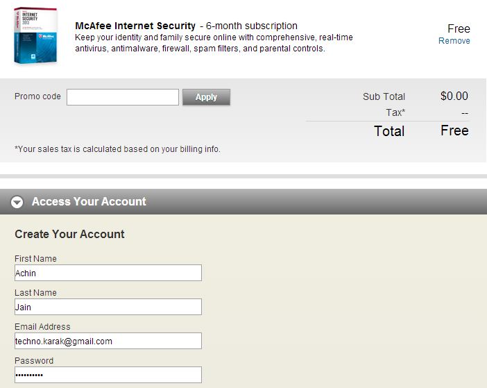 McAfee Internet Security 2013 Registration