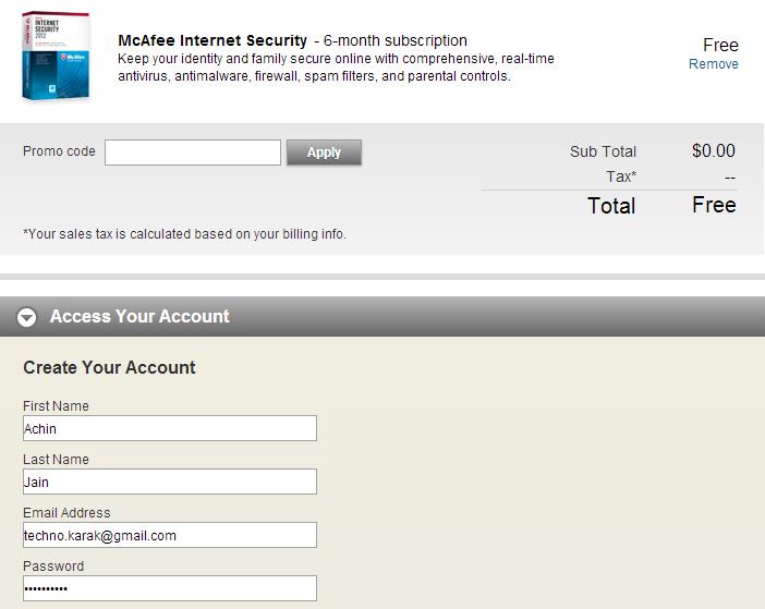 McAfee Internet Security 2013 Registration