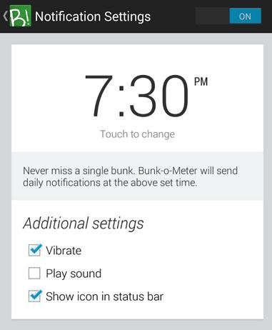 Bunk-o-meter Notification Setting