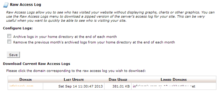 Download log files from cpanel