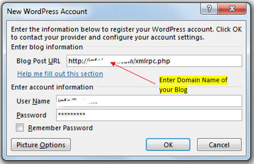 Enter WordPress Account Details