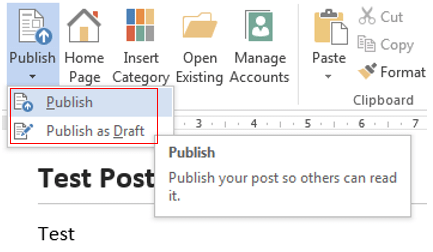 Publish blog post from Word 2013