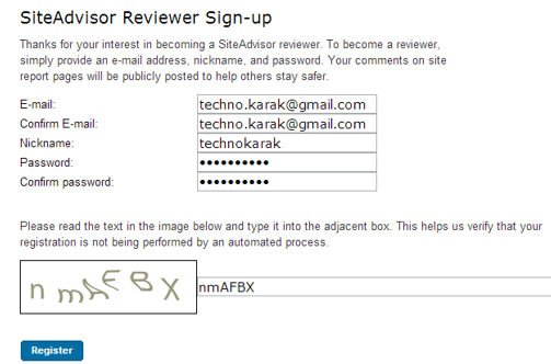 SiteAdvisor Reviewer Sing-Up page