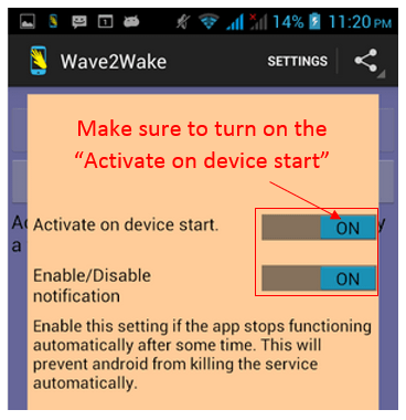 turn on Android Device Screen with a Wave
