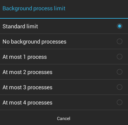 Set Background process limit