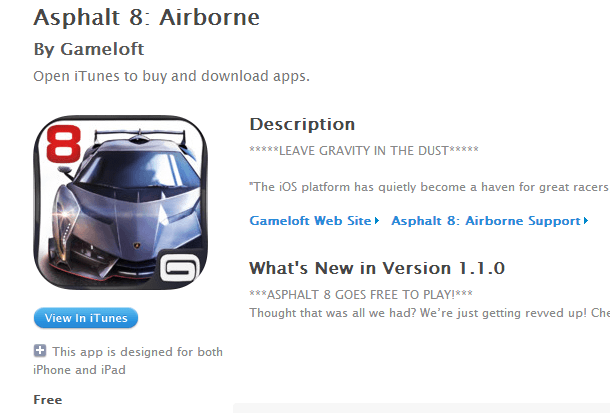Asphalt 8 airborne free download from Apple iStore