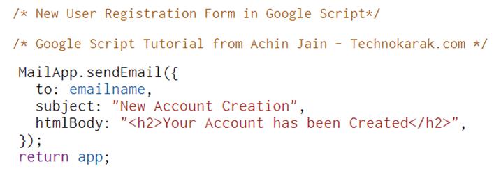 Google Script Send Email Code