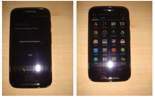 Motorola Moto E First Boot Image