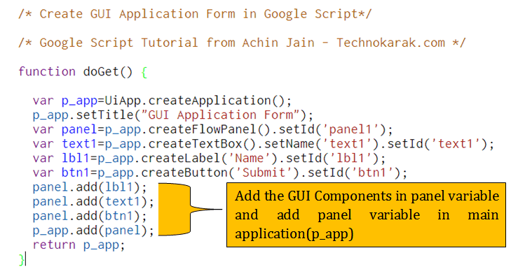 create GUI Form Application in Google Apps Scripting