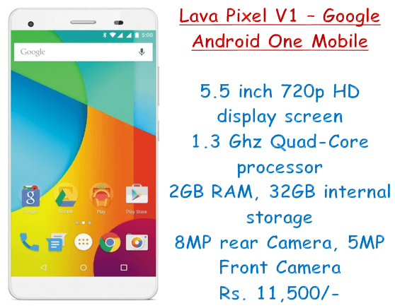 Lava Pixel V1 – Google Android One Mobile