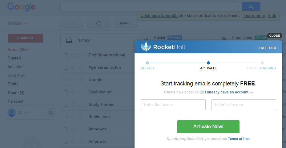 Email Tracking for Gmail Review of RocketBolt Chrome Plugin - 1